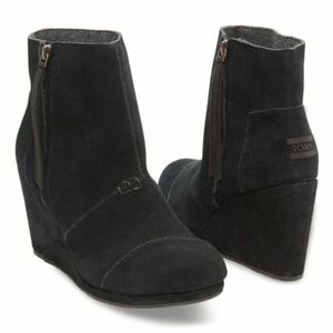 Toms Black Suede High Desert Wedge Booties